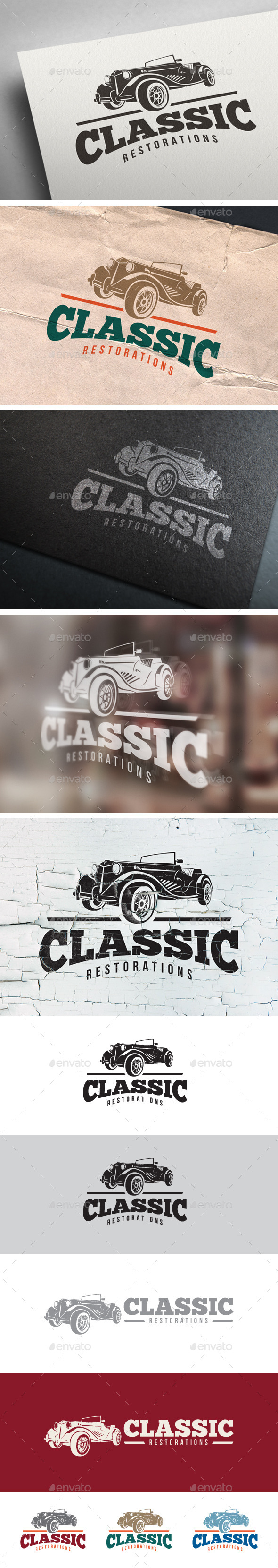 Classic Car Restoration Logo - Objects Logo Templates