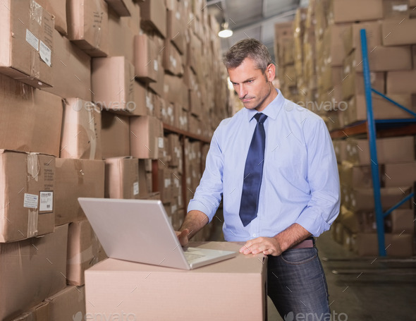 Concentrated warehouse manager using laptop at warehouse - Stock Photo - Images