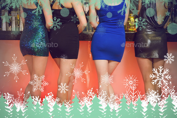 Sexy women legs standing at bar against snowflakes and fir trees in green - Stock Photo - Images