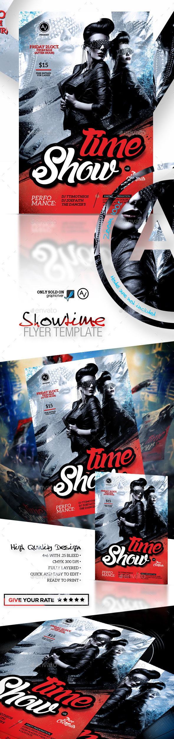 Showtime Flyer Template - Clubs & Parties Events
