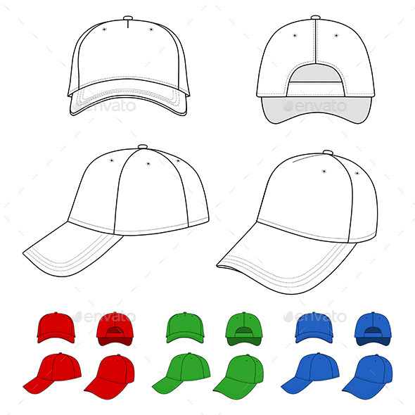 Cap Outlined Template - Man-made Objects Objects