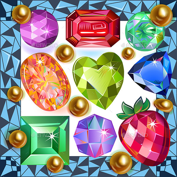 Framed Picture Precious Stones - Backgrounds Decorative