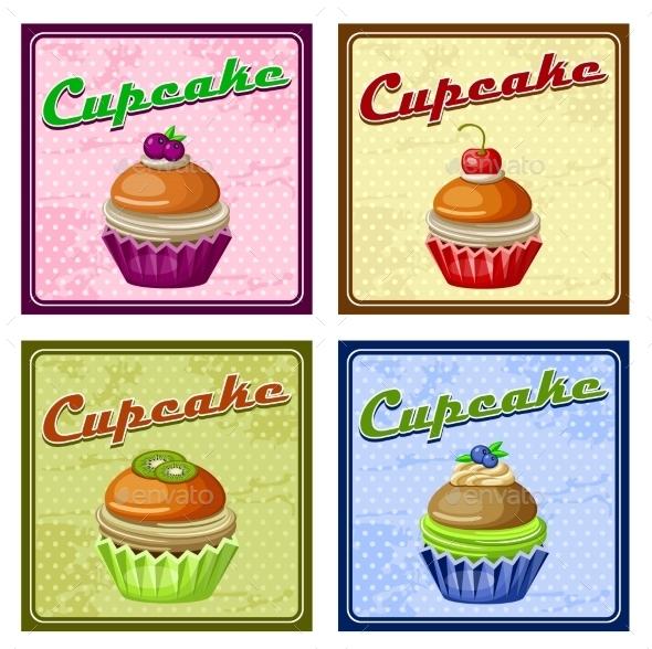 Set of Four Vintage Posters Cupcake.  - Birthdays Seasons/Holidays