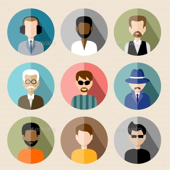 Set of Circle Flat Icons with Man.  - People Characters