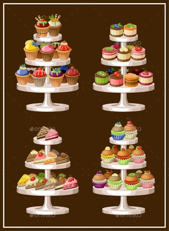 Set of Sweets on Plates.  - Birthdays Seasons/Holidays