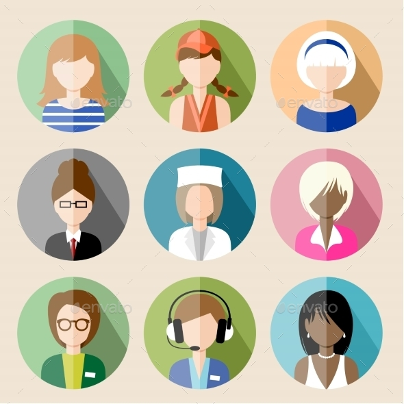 Set of Circle Flat Icons with Women.  - People Characters