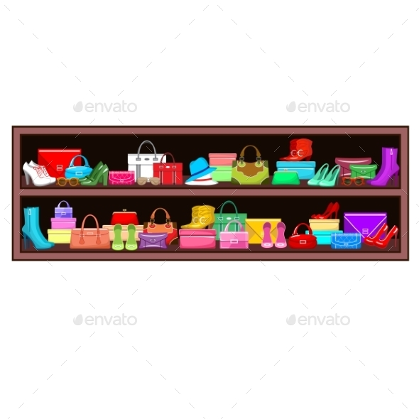 Shelf with Bags and Shoes.  - Retail Commercial / Shopping