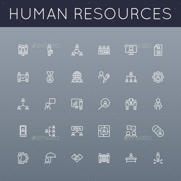 Vector HR Line Icons - Business Conceptual