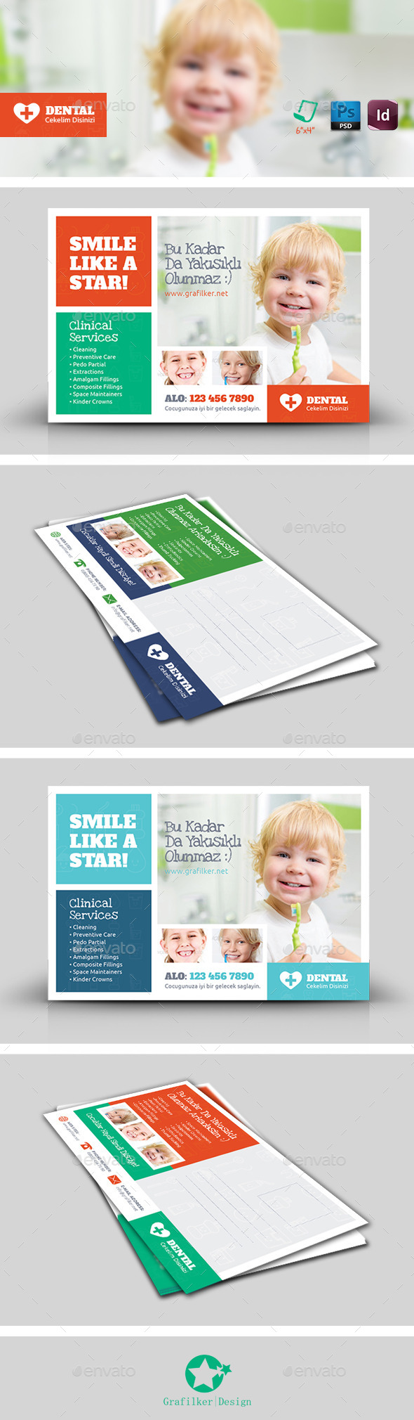 Kids Dental Postcard Templates - Corporate Flyers