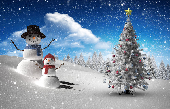 Composite image of christmas tree and snowman against fir tree forest in snowy landscape - Stock Photo - Images