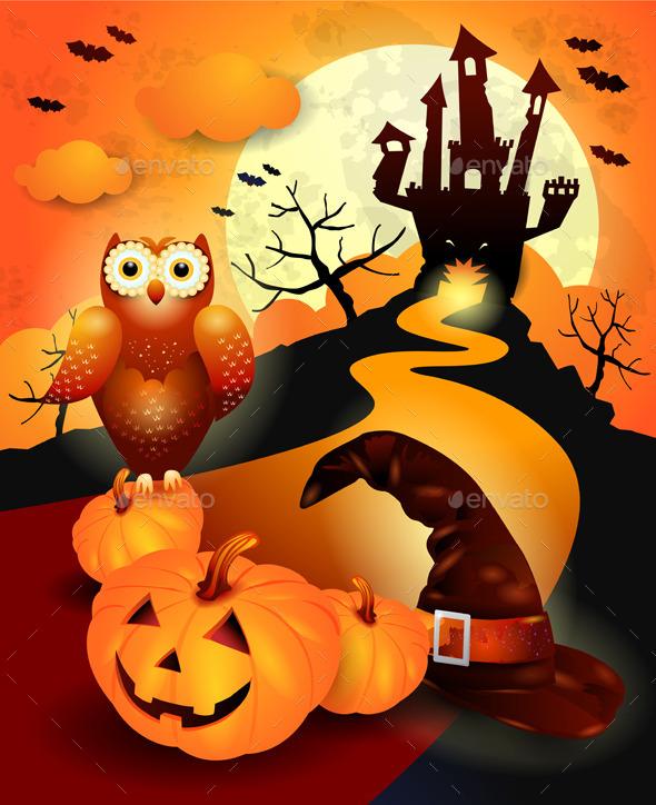 Halloween Background with Owl in Orange  - Halloween Seasons/Holidays