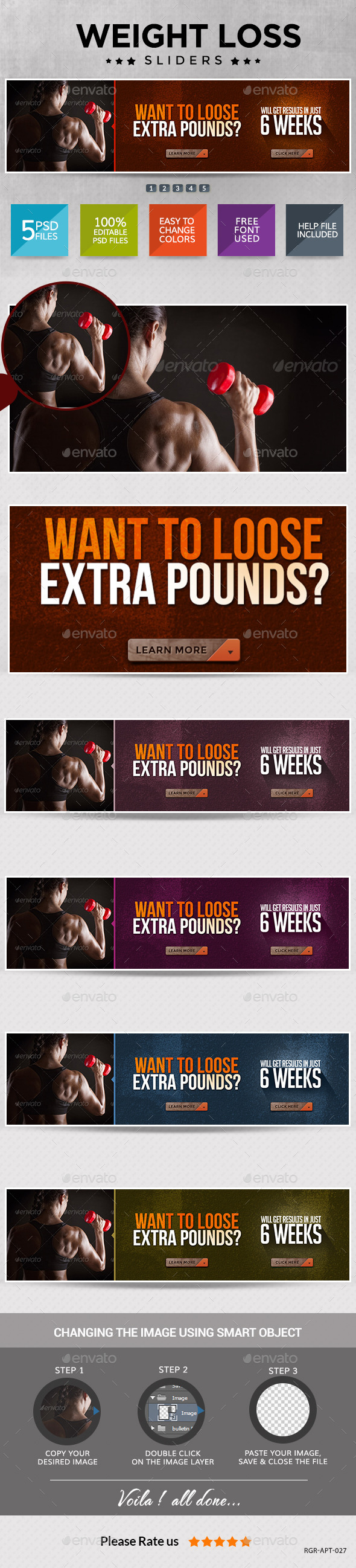 Weight Loss and Fitness Sliders - Sliders & Features Web Elements