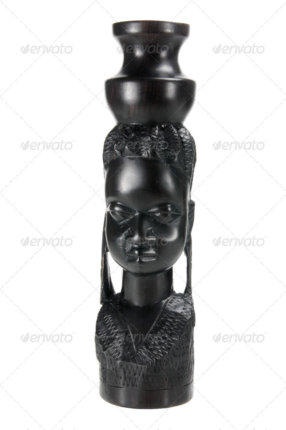 African Woman Carving - Stock Photo - Images