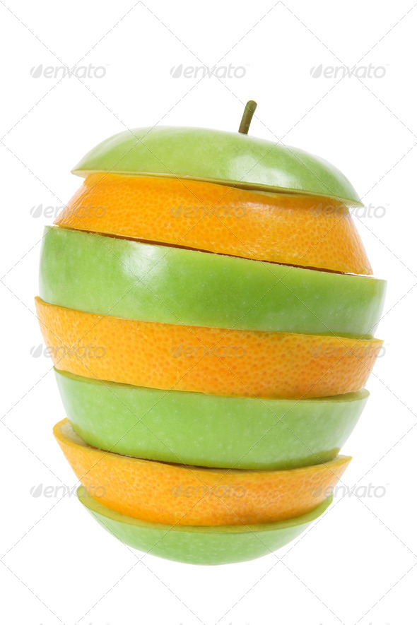 Slices of Apple and Orange - Stock Photo - Images