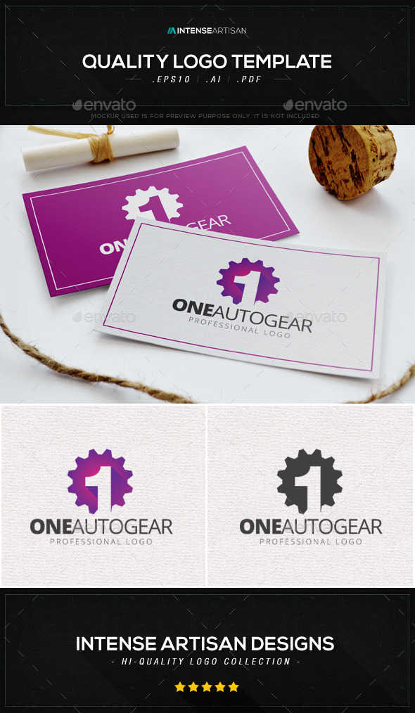 One Auto Gear V.2 Logo Template - Numbers Logo Templates