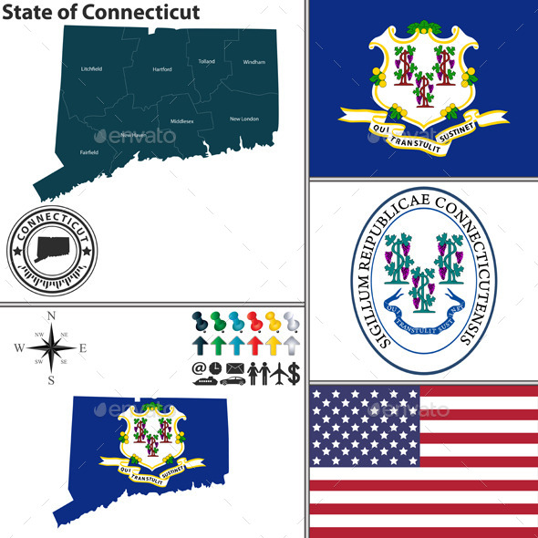 Map of state Connecticut, USA - Travel Conceptual