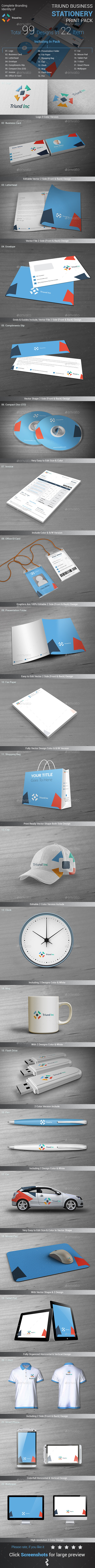 Triund Business Stationery Print Pack - Stationery Print Templates