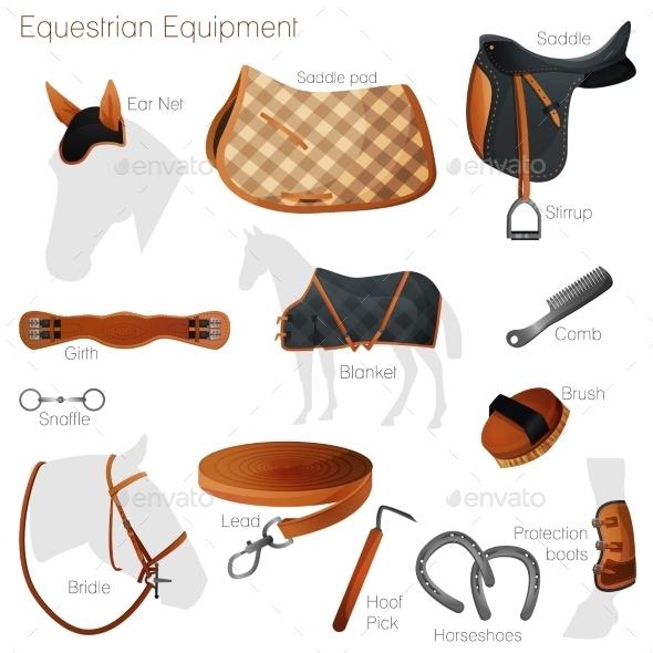 Set of Equestrian Equipment. Vector. - Sports/Activity Conceptual