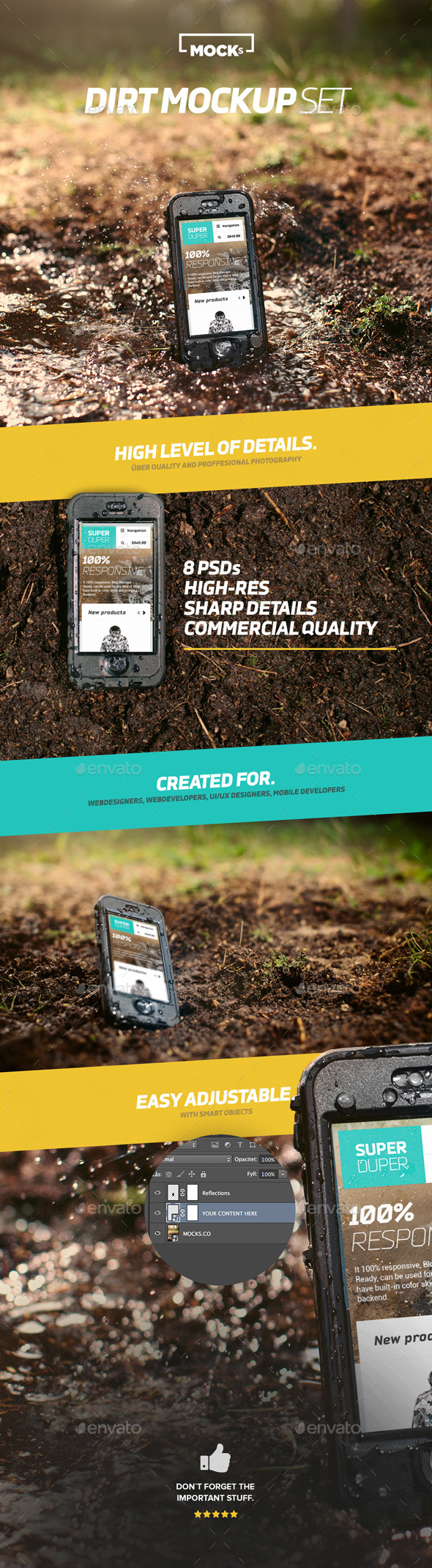 Phone Dirt Mockup Set - Mobile Displays