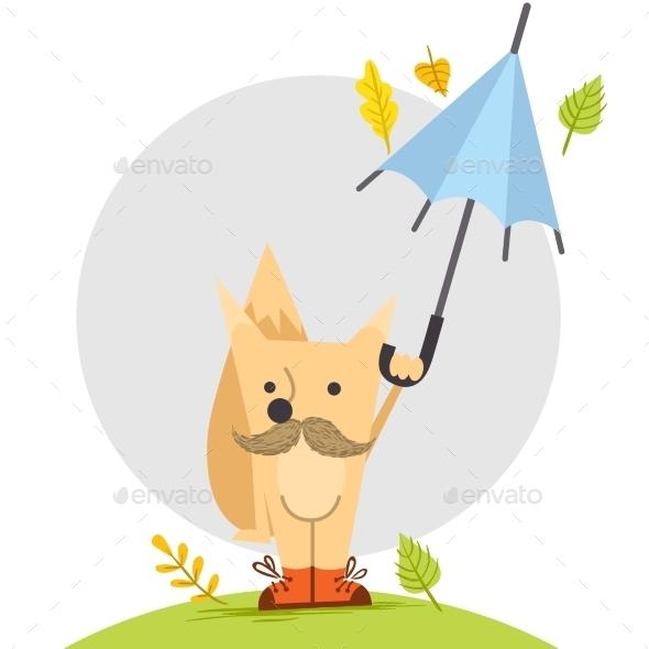 Cartoon Fox, Hipster Style - Seasons Nature
