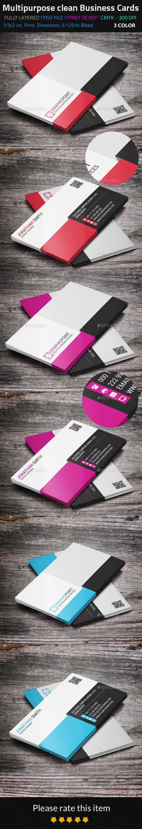 Multipurpose Clean Business Cards - Corporate Business Cards