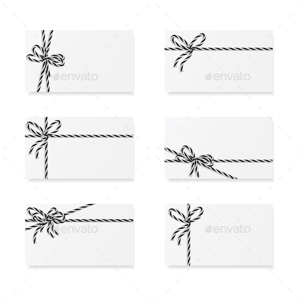 Card Notes with Gift Bows - Decorative Symbols Decorative