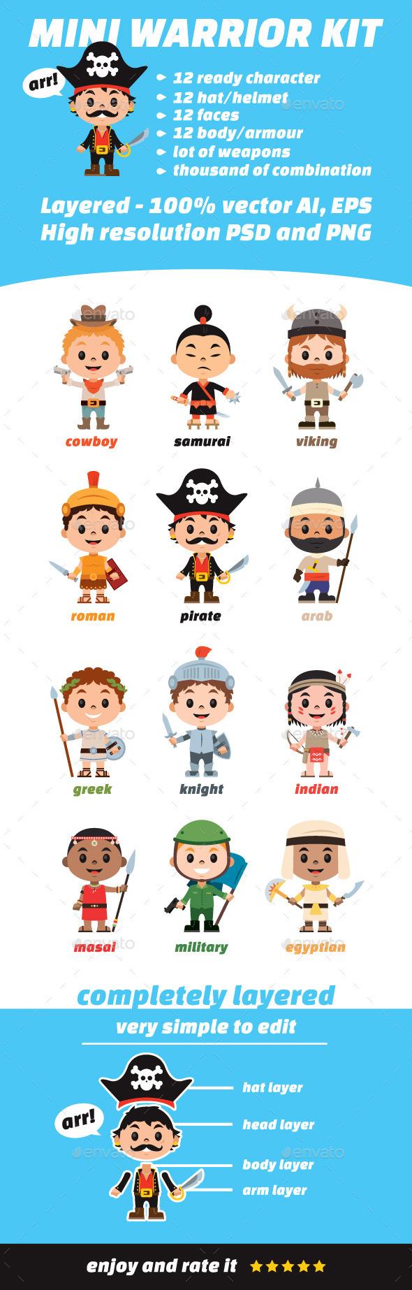 Mini Warrior Kit - Characters Vectors
