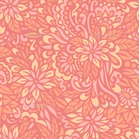 Flowering Garden. Seamless Decorative Pattern. - Patterns Decorative