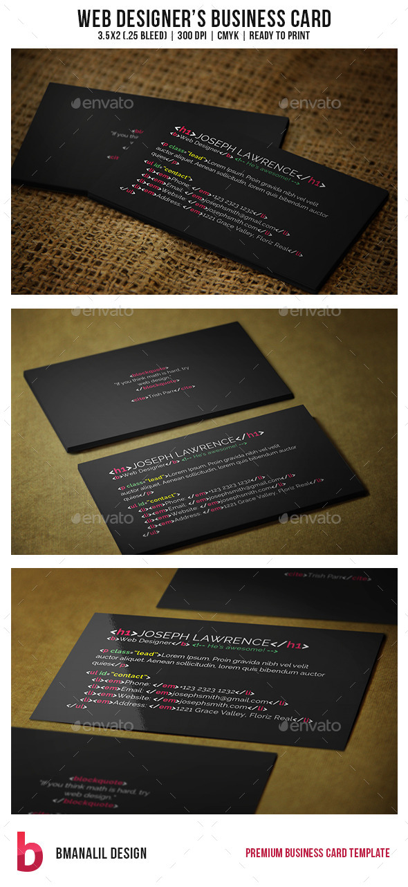 Web Designer's Business Card - Creative Business Cards