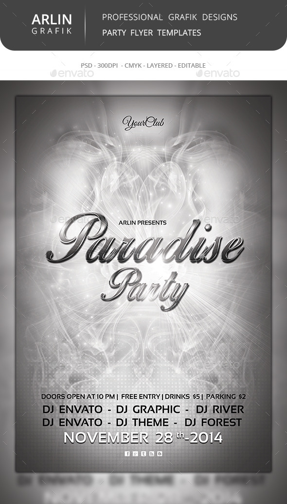 Paradise Flyer Template  - Clubs & Parties Events