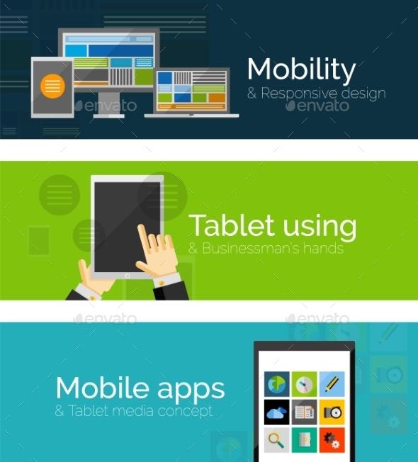 Flat Business Banners - Web Technology