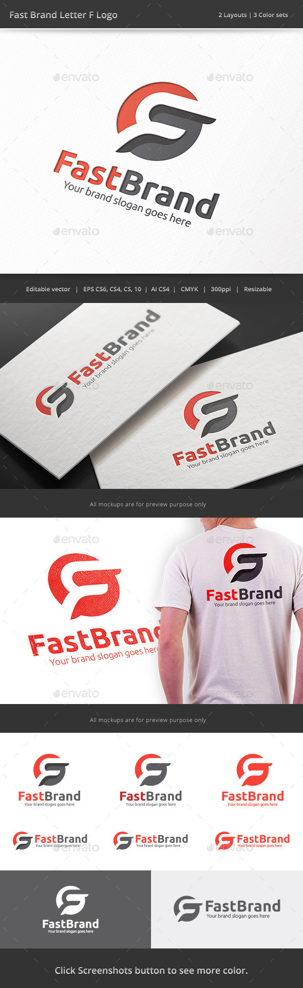 Fast Brand Letter F Logo - Letters Logo Templates