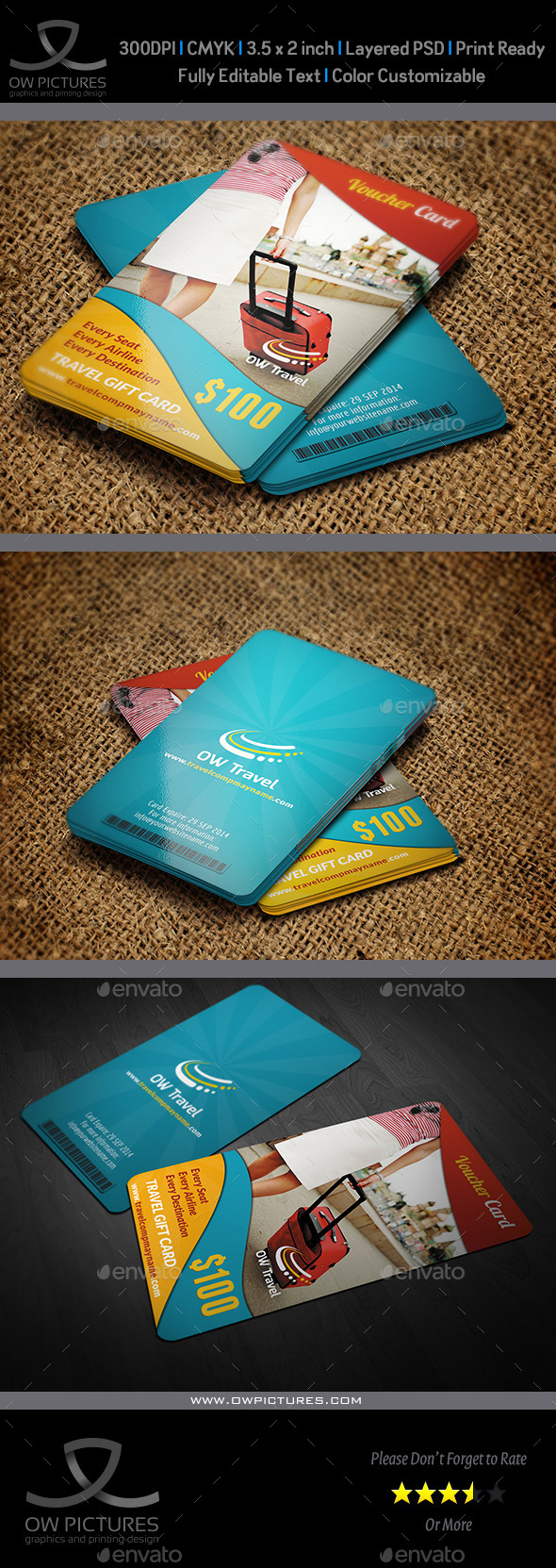 Travel Gift Voucher Card Template Vol.13 - Cards & Invites Print Templates