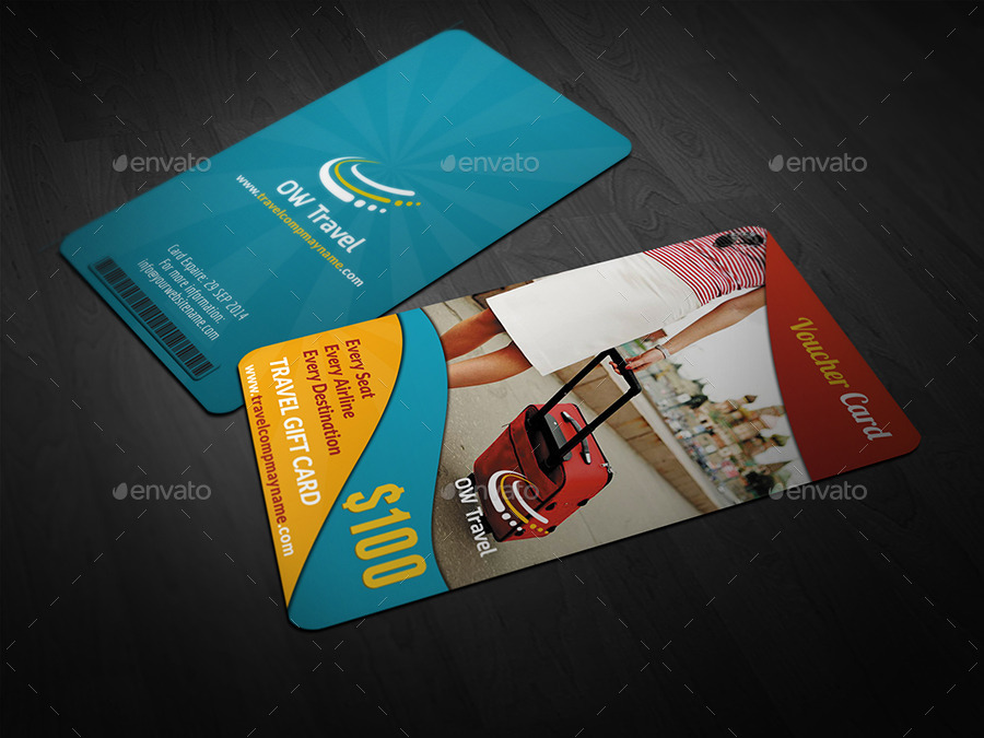 Travel Gift Voucher Card Template Vol13 By Owpictures Graphicriver