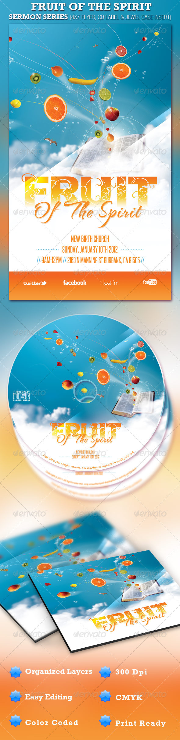 Fruit of the Spirit Church Flyer and CD Template - Church Flyers