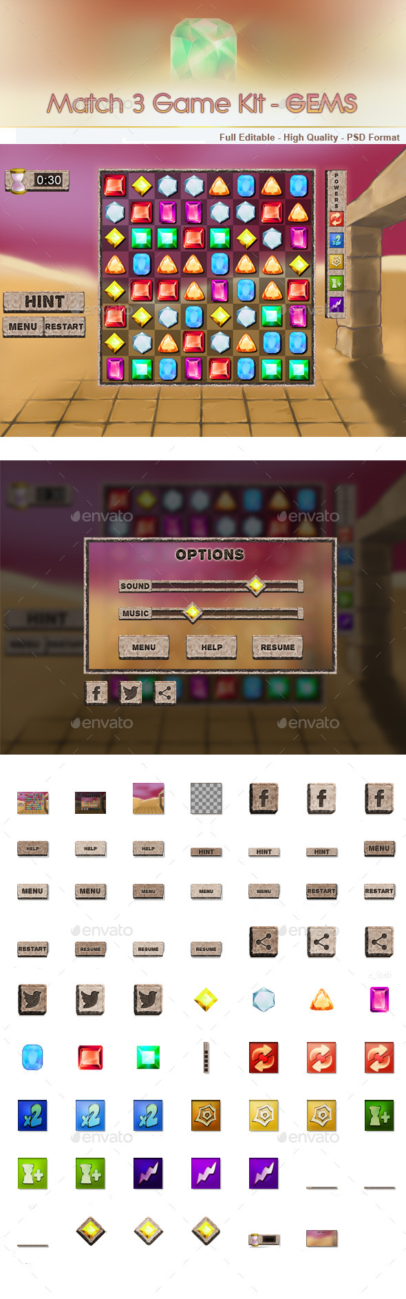 Match 3 Game Kit - Gems - User Interfaces Game Assets