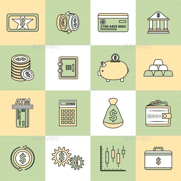 Money Finance Icons Flat Line - Web Technology