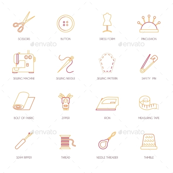 Sewing Equipment Icons Set Flat Line - Web Technology