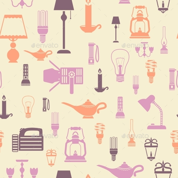 Flashlight and Lamps Seamless Pattern - Backgrounds Decorative
