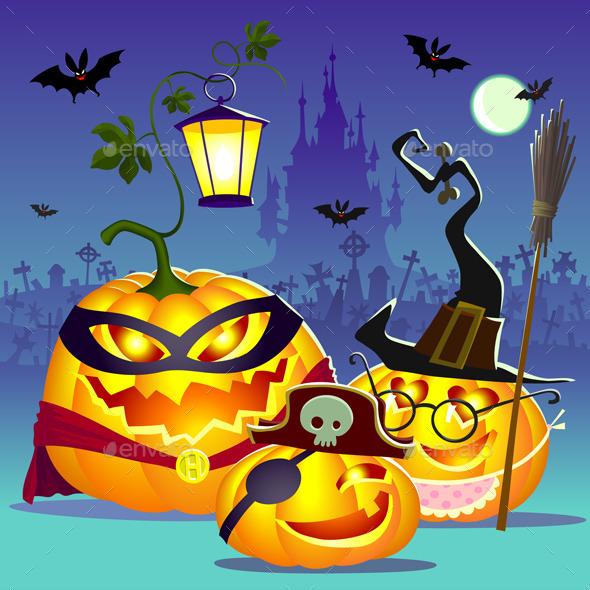 Halloween Happy Family of Pumpkins - Halloween Seasons/Holidays