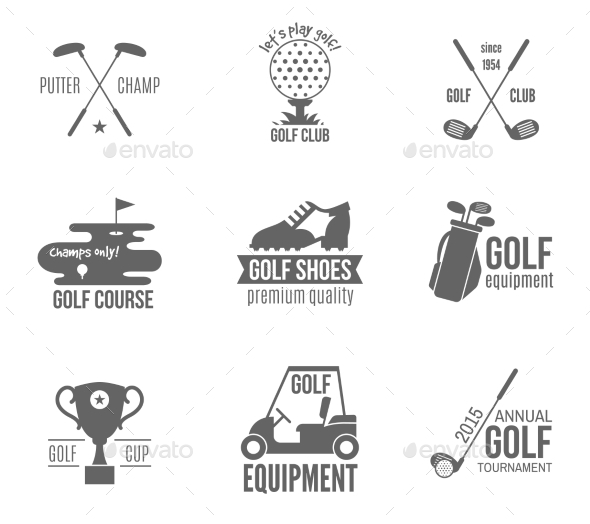 Golf Label Set - Sports/Activity Conceptual
