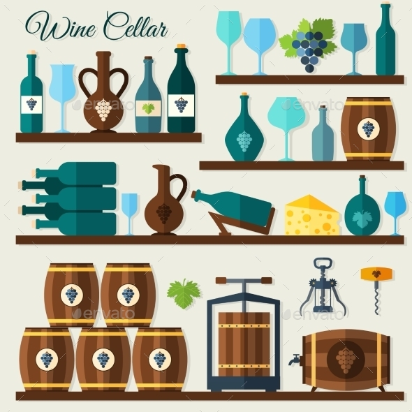 Wine Cellar Icons - Food Objects