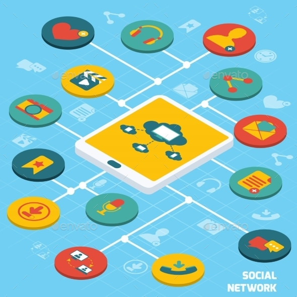 Social Network Isometric - Communications Technology