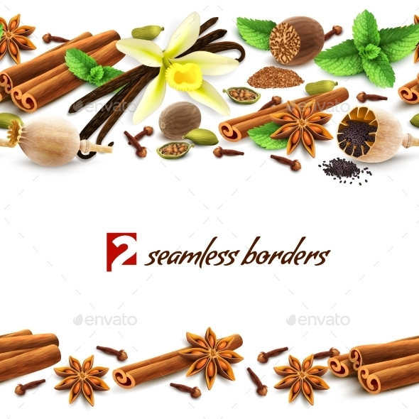 Spices Seamless Borders - Backgrounds Decorative