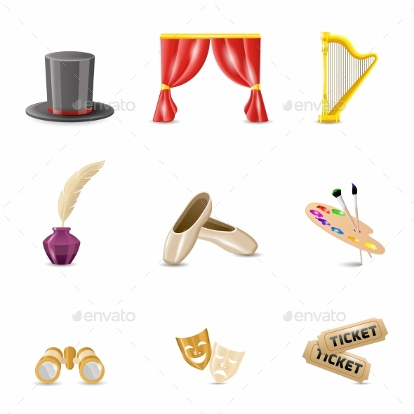Theatre Realistic Icons - Objects Icons