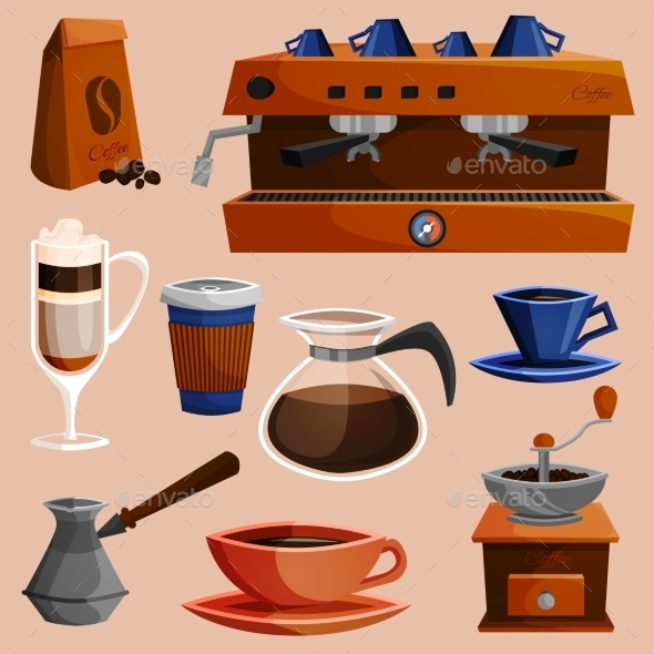 Coffee Elements Set - Food Objects
