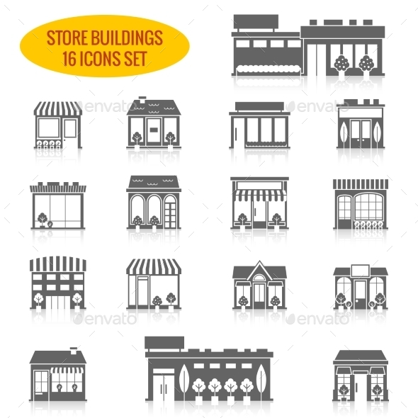 Store Building Icons Set Black - Buildings Objects