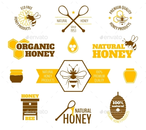 Bee Honey Label Colored - Food Objects