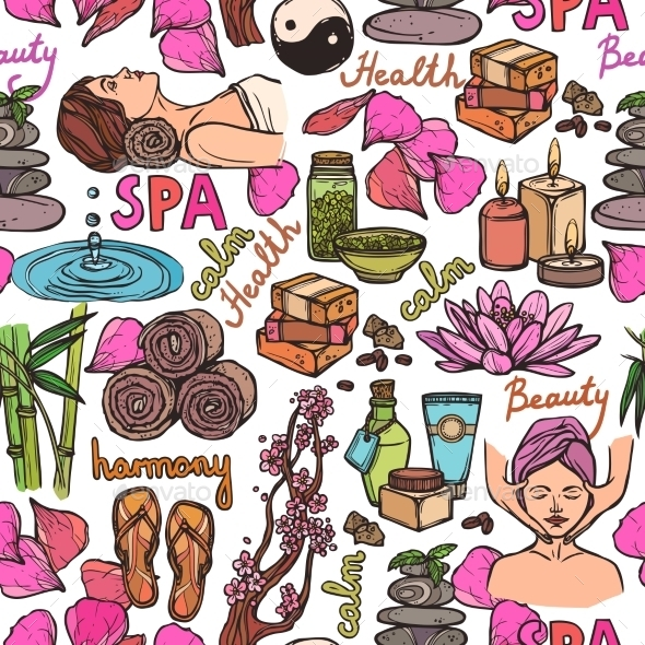 Spa Sketch Seamless Pattern Color - Backgrounds Decorative