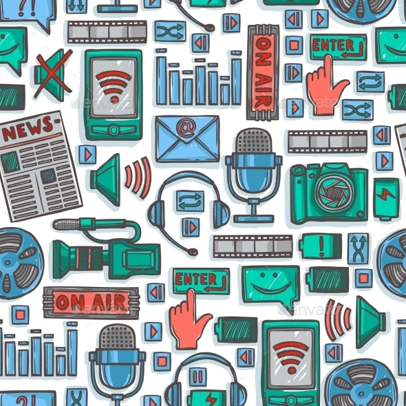 Media Sketch Icons Seamless Pattern - Backgrounds Decorative